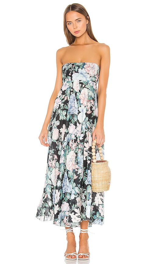 Verity Strapless Dress in Black Floral