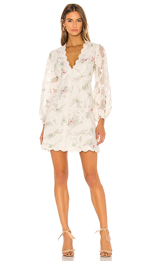 Zimmermann Zinnia Applique Mini Dress in Ivory Multi | REVOLVE