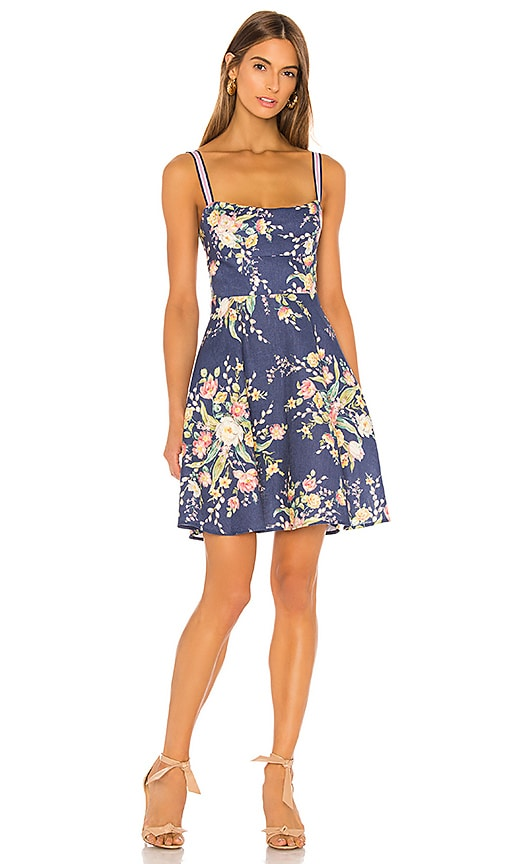 Zimmermann Zinnia Strap Mini Dress in Cobalt Floral | REVOLVE