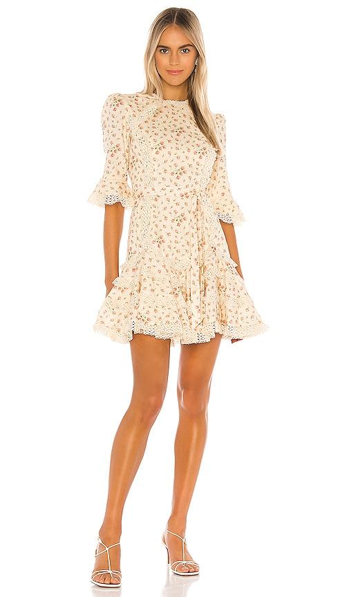 Zimmermann Freja Trim Flutter Dress in Cream Ditsy Floral | REVOLVE