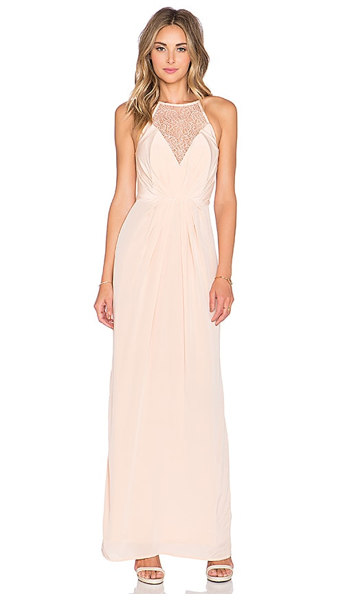 Zimmermann Silk Web Maxi Dress in Peach