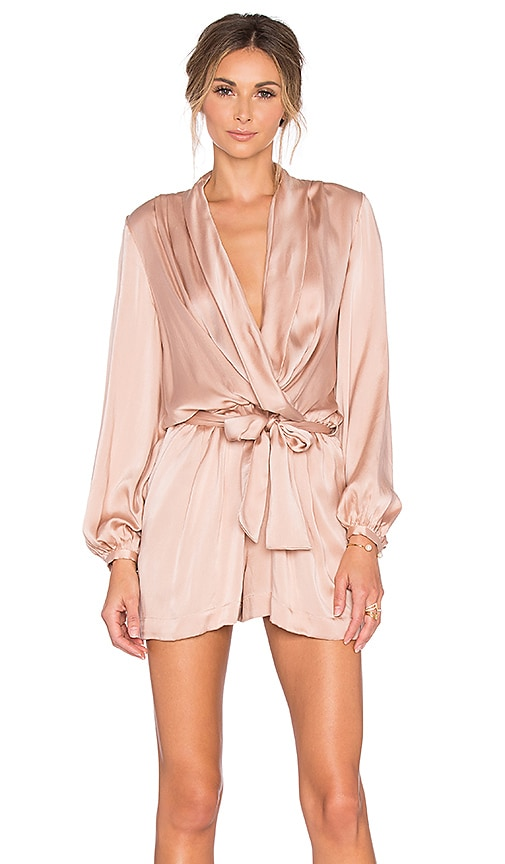 31168a31eb44 Zimmermann Sueded Silk Wrap Playsuit in Peony