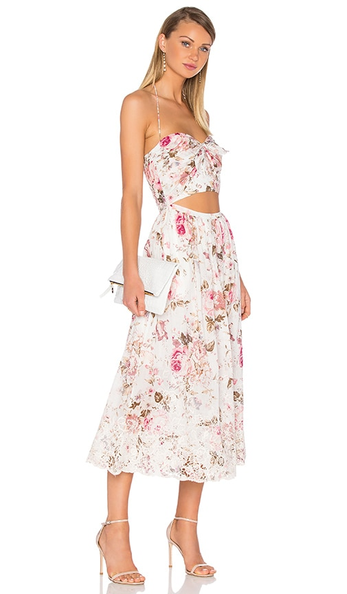 Zimmermann Eden Embroidered Tie Maxi Dress in Floral Embroidery