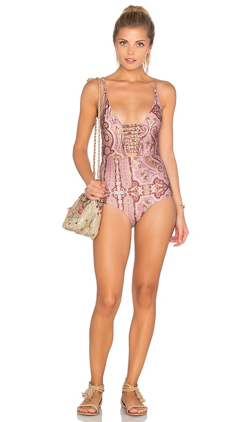 Zimmermann Realm Harness One Piece Swimsuit in Blush