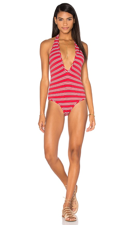 Zimmermann Roza Knit Halter One Piece Swimsuit in Red