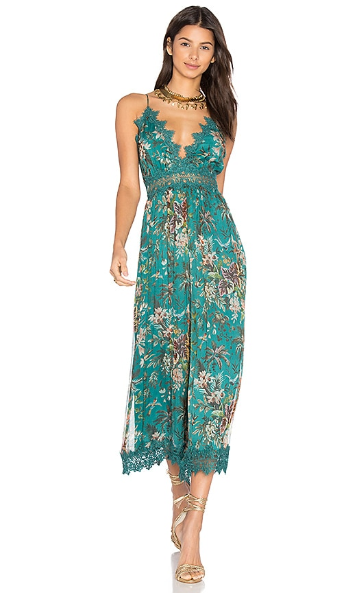 Zimmermann Tropicale Crinkle Jumpsuit In Teal Floral Revolve
