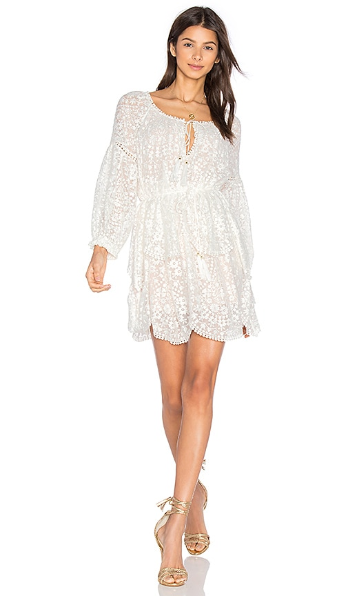 Zimmermann Gossamer Scallop Mini Dress in White