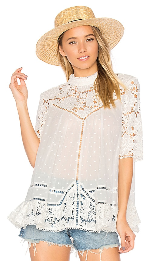 Zimmermann Caravan Embroidered Smock Top in White