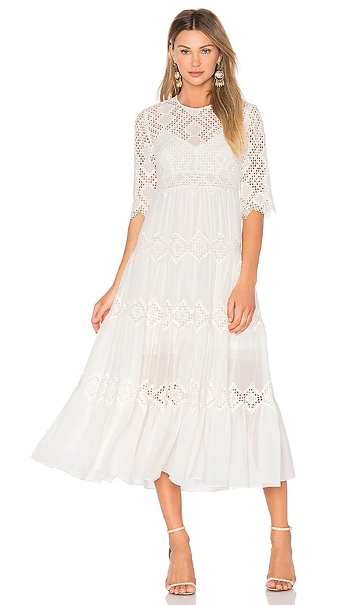 Zimmermann Oleander Diamond Lace Tier Dress in White