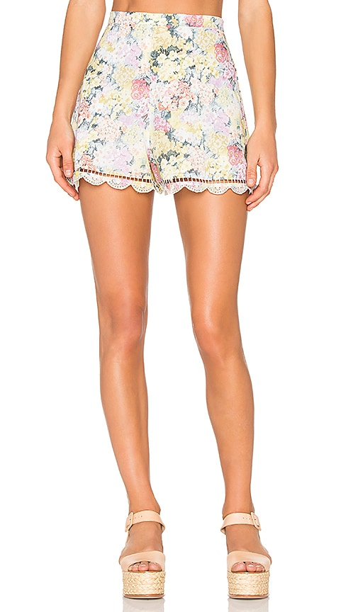Zimmermann Valour Hydrangea Flare Shorts in Yellow