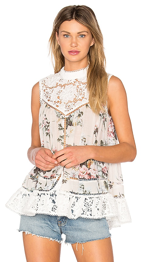 Zimmermann Aerial Mini Smock Tank in White