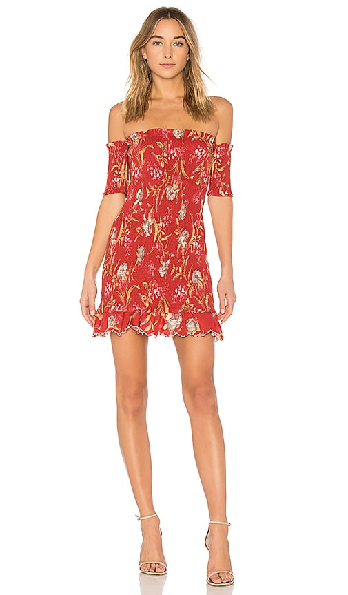 Corsair Off-The-Shoulder Shirred Printed Linen And Cotton-Blend Dress in Red