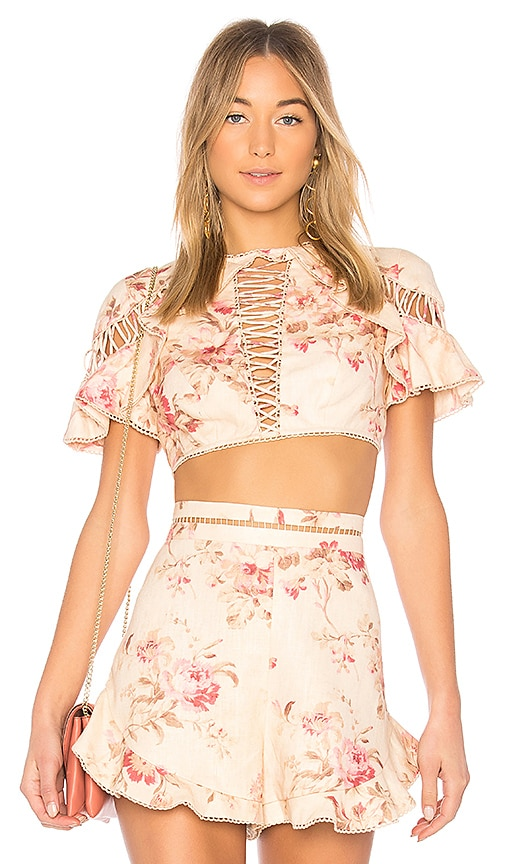 add467fca2bfe Zimmermann Corsair Flutter Lace Up Top in Cream Floral