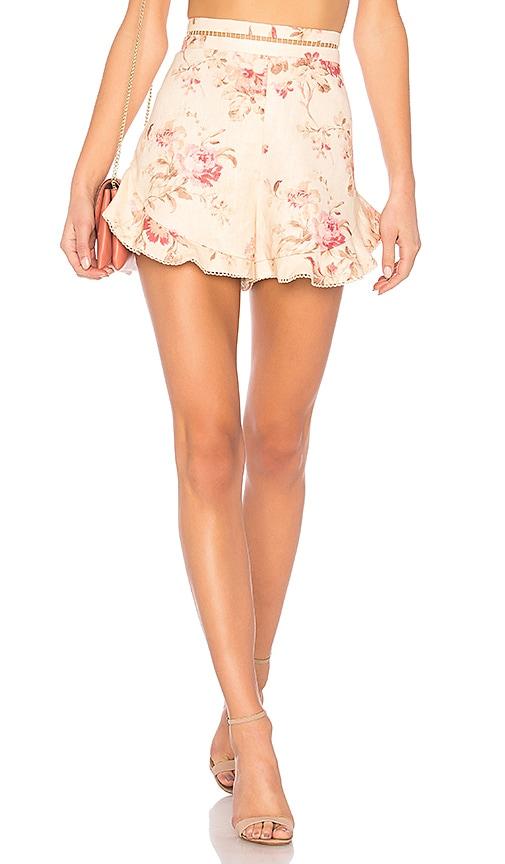 Zimmermann Corsair Flutter Short in Cream