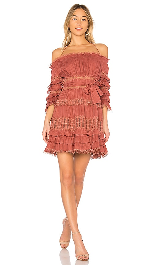 Zimmermann Corsair Frill Tier Dress in Pink