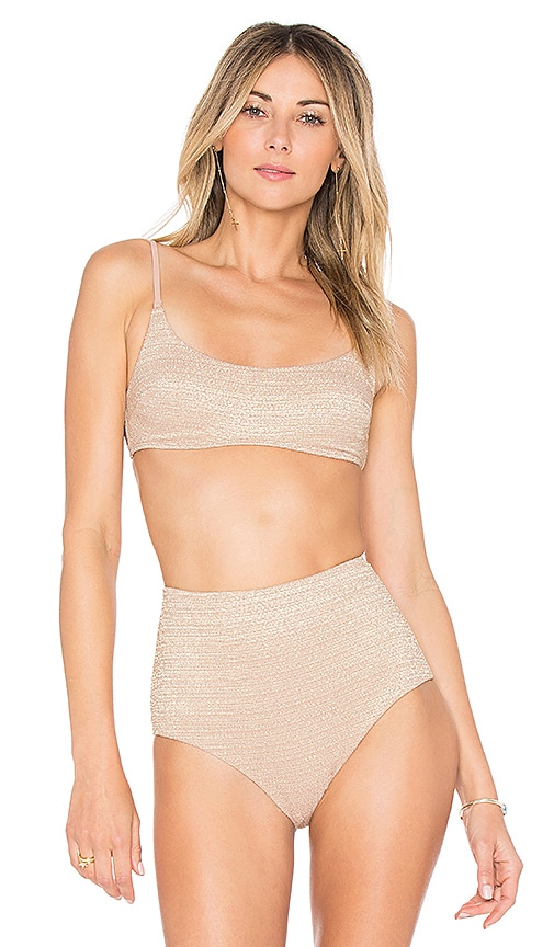 Zimmermann Scoop Bikini Top in Metallic Neutral