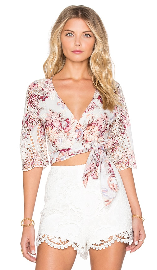 Zimmermann Epoque Broderie Flutter Wrap Top in Pink