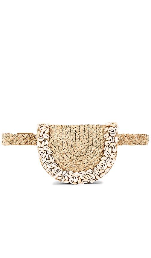 Embroidered Raffia Belt Bag