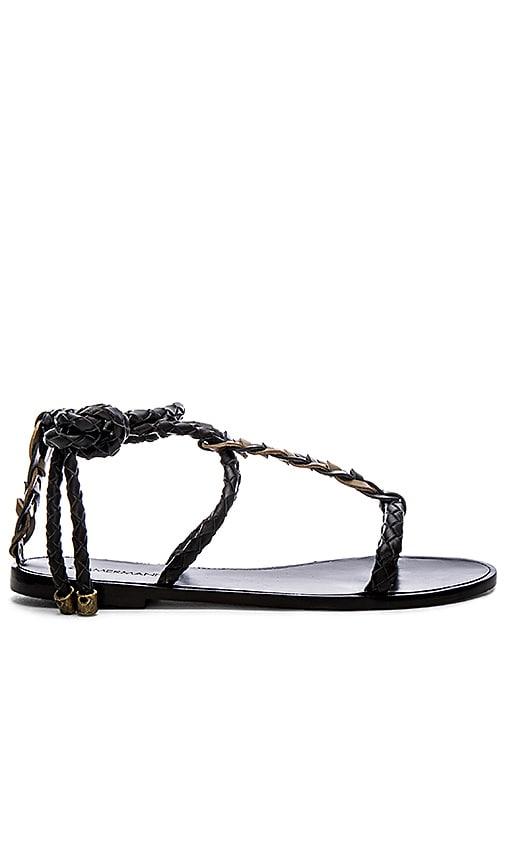 Zimmermann Link Weave Tie Sandal in Black & Olive