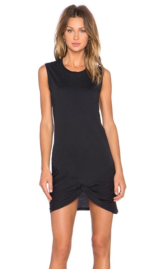 Zoe Karssen Knotted Muscle Tank Dress in Pirate Black