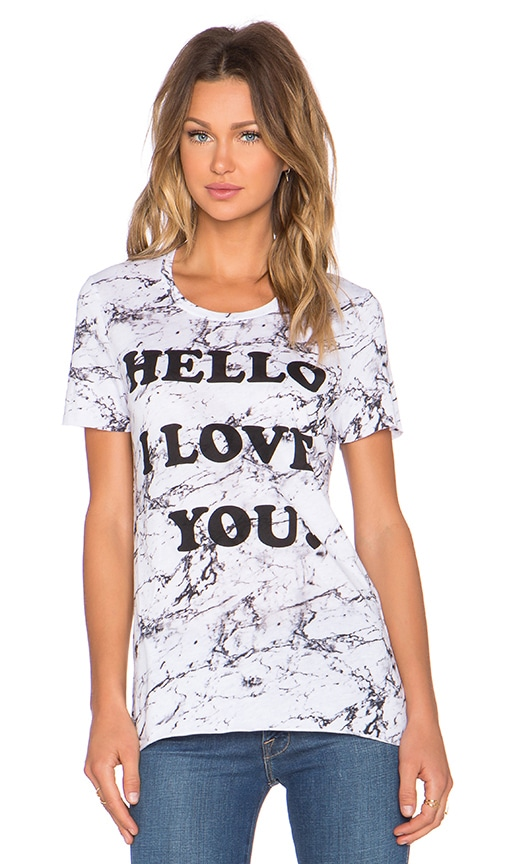 Zoe Karssen Hello I Love You Loose Fit Tee in Marble White