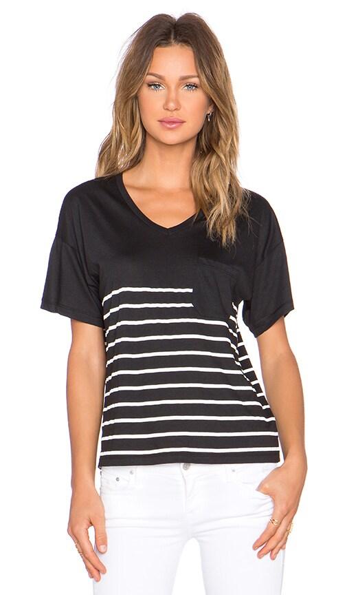Zoe Karssen Stripe Box Fit V Neck Pocket Tee in Pirate Black & White