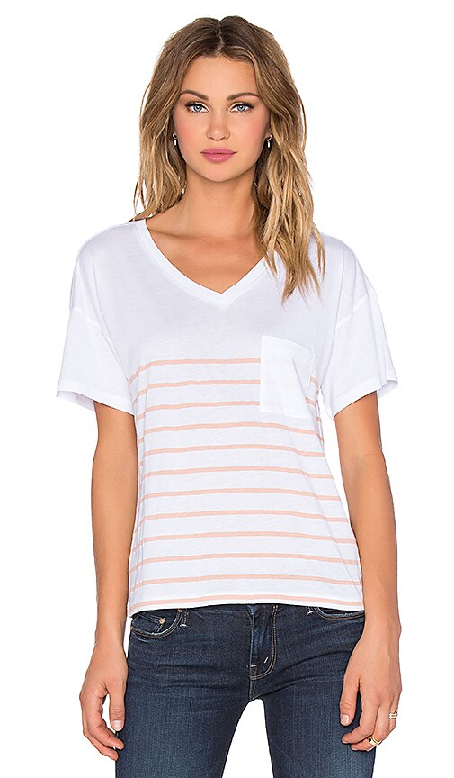 Zoe Karssen Short Sleeve Striped Tee in White & Rose Cloud
