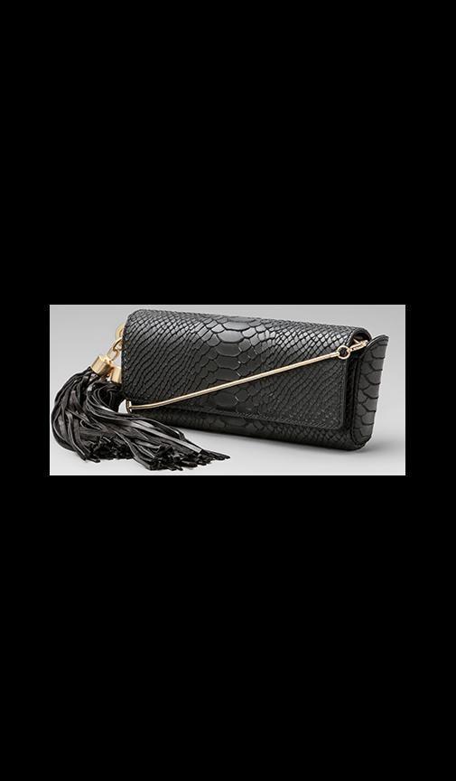 Claudette Dry Python Long Tassel Clutch
