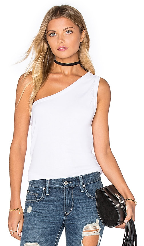 ZULU & ZEPHYR Scope One Shoulder Tank in White