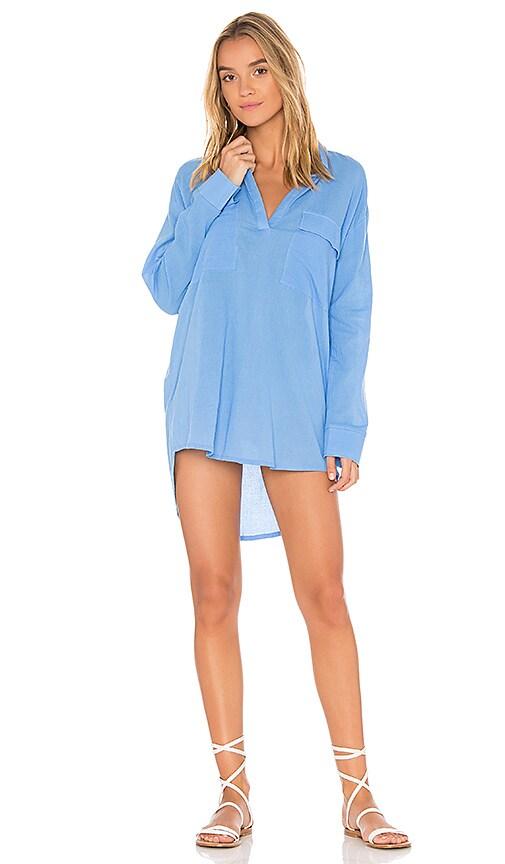 ZULU & ZEPHYR Hydrangea Shirt Dress in Blue