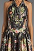 RUNWAY Floral Wreath Print Cotton Poplin Halter Dress, view 5, click to view large image.