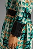 Deco Fans Print Crepe De Chine Dress, view 6, click to view large image.