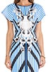 Striped Sculpture Neoprene Dress, view 5, click to view large image.