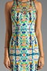 Kaleidoscope Print on Stretch Cotton Sateen Mesh Racer Dress, view 5, click to view large image.