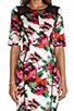 Floral Print Paneled Raw-Edge Sleeve Dress, view 5, click to view large image.