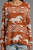 Buddy Knit Pullover Sweater with Wild Horses Jacquard Artwork, view 4, click to view large image.