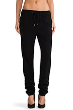 Ruched Ankle Track Pant in Black