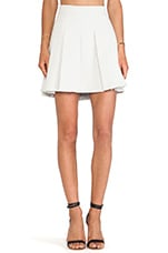 Box Pleat Short Skirt in Ivory