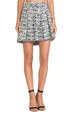Box Pleat Short Skirt in Blue Combo