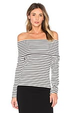 DEREK LAM 10 CROSBY Off The Shoulder Top in Soft White Stripe
