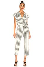 1. STATE Button Front Regancy Stripe Jumpsuit in Sage Vine