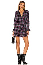 1. STATE Button Up Plaid Dress in Blue Night