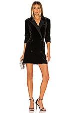 1. STATE Ruched Velvet Blazer Dress in Rich Black