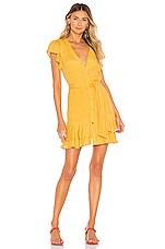 1. STATE Button Down Asymmetrical Ruffle Dress in Gold Sun