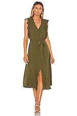 1. STATE Button Front Crosshatch Midi Dress in Lush Grass