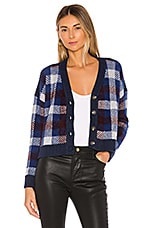 1. STATE Button Front Plaid Eyelash Cropped Cardigan in Blue Velvet