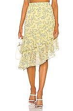 1. STATE Tiered Asymmetrical Blossom Cluster Skirt in Honeysuckle