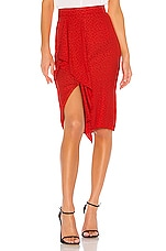 1. STATE Ruffle Front Tonal Leopard Pencil Skirt in Cherry Red