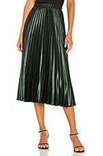 1. STATE Matte Satin Pleated Midi Skirt in Deep Forest