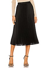 1. STATE Charmeuse Pleated Midi Skirt in Rich Black